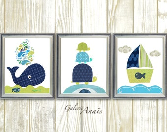 Blue navy green Nautical Nursery Wall Art Bathroom art Whale art Boat Turtle Set of three  prints Home Decor