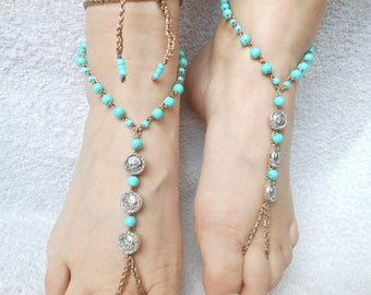Crochet Barefoot Sandals Beach Wedding  Yoga Shoes Foot Jewelry Turquoise