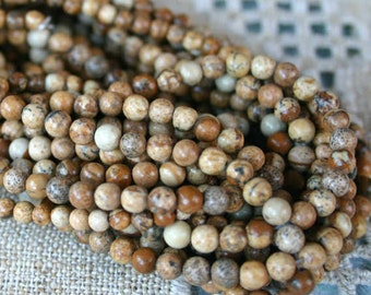 66pcs 6mm Picture Jasper Natural Gemstone Beads Round 16 Inches Strand