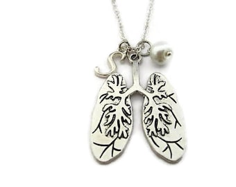 Human Lungs Necklace Anatomical Necklace Biology Necklace Birthstone Necklace Glass Pearl Necklace Initial Necklace Anatomy Jewelry Science