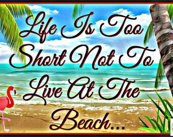 Tiki Bar Sign Life Is Short! Distressed Image All Weather Metal 8x12 Sign Funny Bar Man Cave Happy Hour Pub Garage Pool Hot Tub Beach