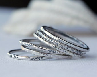 Rustic Textured Sterling Silver Stacking Rings, stacking set, silver rings