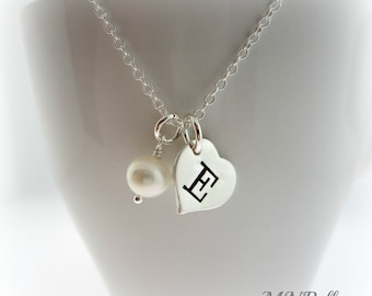 Personalized Initial Necklace. Monogram Necklace. Handstamp Letter Necklace. Heart Initial Sterling Silver Necklace