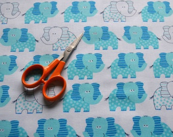 Blue Elephant Fabric, Blue and White Quilts, Novelty Fabric, Sewing Material, Cotton Quilt Fabric By The Yard, Fat Quarters, 1 Yard Fabric