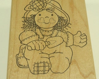 Cute Gardener Girl Wood Mounted Rubber Stamp by Azadi Earles H 954