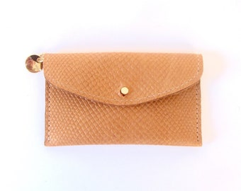 Tan Embossed Leather Wallet - Reptile Embossed Wallet - Golden Brown Leather Card Case