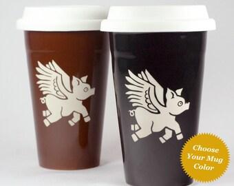 Flying Pig travel mug - insulated lidded coffee cup