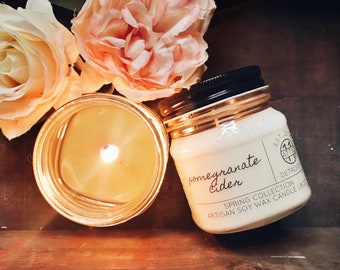 Pomegranate Cider - Hand Poured Soy Candle - Spring and Summer