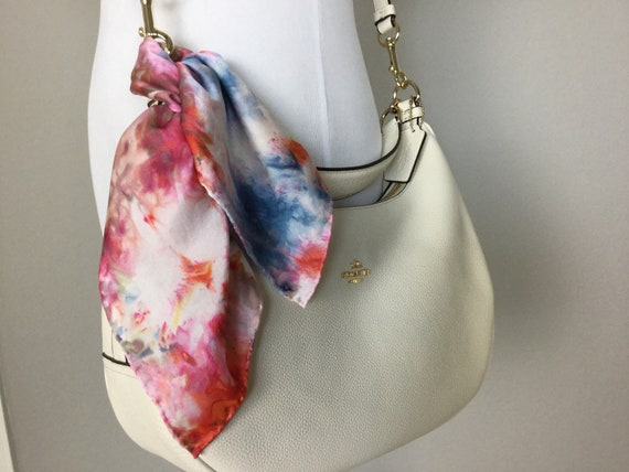 """Purse Scarf or Luggage Identifier, 100% Silk, Ice Dyed Orange Red Blue 16"""" Square, #202"""