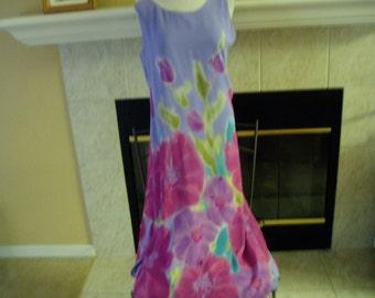 Vintage Carol Anderson 100% silk Purple/Pink/Teal Maxi Dress