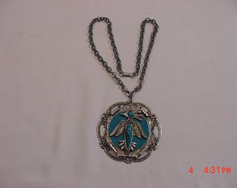 Vintage Faux Turquoise Phoenix Bird Large Pendant Necklace  17 - 637