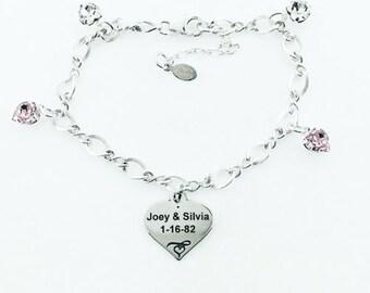 Customizable Heart Charm Bracelet