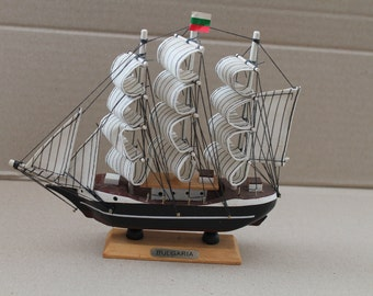Vintage hand made wooden ship