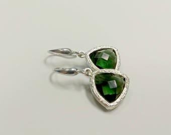 Green earrings, triangle earrings, silver earrings, green glass pendant, green glass earrings, dangle earrings, emerald green