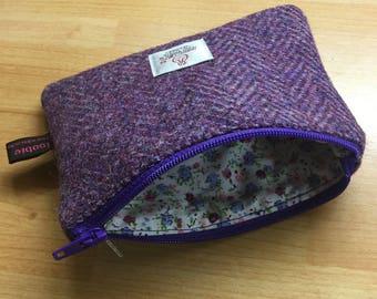 Purple Herringbone Harris Tweed coin purse, zipped coin pouch, change purse, friend gift, little purse, stocking filler