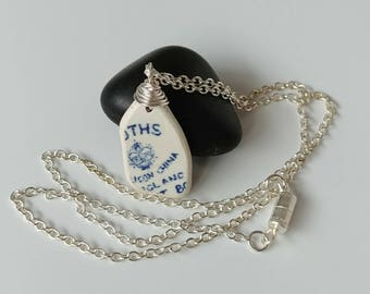 Genuine Beach Pottery Sea Pottery Shard White with Blue Pattern Makers Mark Wire Wrapped Pendant Necklace