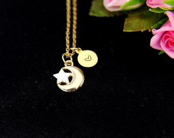 Gold Crescent Moon Star Charm and Initial Charm Necklace, Crescent Moon Star Charm Necklace, Crescent Moon Star Charm, Half Moon Charm, N251