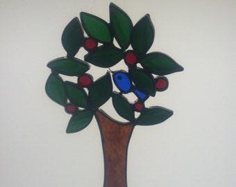 Stained Glass Suncatcher - Bluebird in Cherry Tree