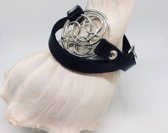 Leather wrap upcycled bracelet