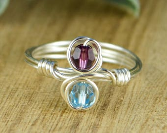 Any Two Birthstone Couples or Best Friends Infinity Ring- Sterling Silver, Yellow or Rose Gold Filled Wire- Size 4 5 6 7 8 9 10 11 12 13 14