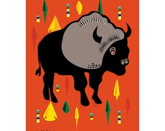 Buffalo and Arrow Head Art Print 11 x 14 drawing