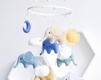 Elephant Baby Mobile - Elephant Mobile - Zoo Mobile - Elephant Baby Shower Gift - Newborn Gift - Crib Mobile - Cot Mobile - Elephant Nursery