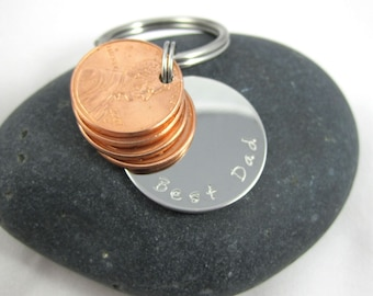Best Dad Personalized Father's Day Lucky Us Penny Key Chain - Four Penny USA Coin Charm Custom Penny Keychain Personalized Penny Key Chain