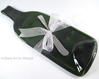 Melted Wine Bottle Cheese Board Serving Tray Cabernet Recycled Glass with Towle Stainless Steel Cheese Spreader Holiday Hostess Gift
