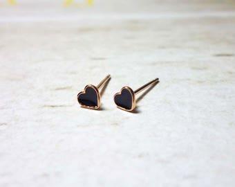 Tiny Lovely Black Heart Stud Earrings, Dainty Earrings