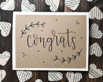 Set of 5 Congrats Hand Lettered Calligraphy Greeting Card - Handmade Rustic Calligraphy Card