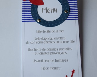 menu marine theme, blue, red and white with fish