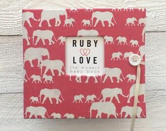 Pink Elephant Silhouette Album | BABY BOOK