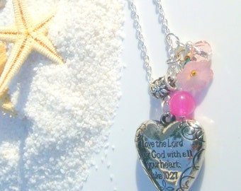 Love the Lord your God with all your Heart Luke 10:27 Pendant Necklace