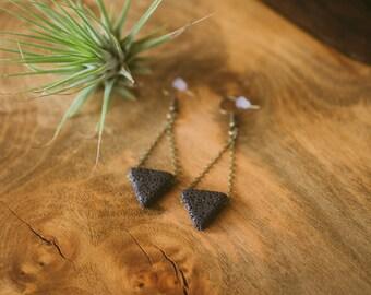 Lava Bead Earrings / Aromatherapy Earrings / Dangle Earrings / Black Triangle & Brass Earrings / Essential Oil Diffuser / Earring Zest it Up