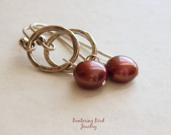 Burgundy Freshwater Pearl Earrings, Hammered Fine Silver Hoops, Oxidized Sterling Silver Jewelry, Mother's Day Gift