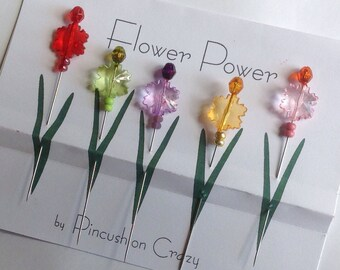 Quilting Flower Pins - Fancy Straight Pins - Embellishment / Scrapbooking  Pins - Gift for Quilter - Sewing Accessory - Long Quilting Pins