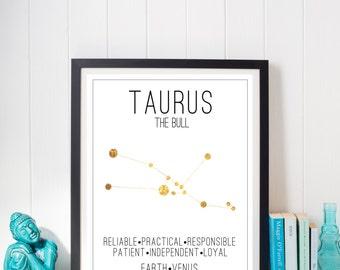 Taurus Constellation Zodiac Traits Gold Foil Print