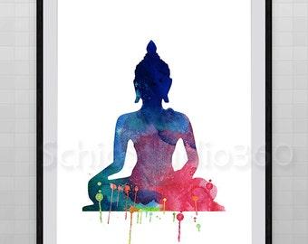 Buddha Watercolor Print Archival Fine Art Print Birthday Gift Housewarming Gift Wall Hanging