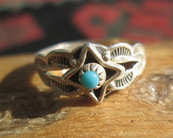 Bell Trading Post Turquoise and Sterling Silver Ring Size 3