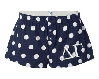 Delta Gamma Polka Dot Flannel Boxer Shorts, Delta Gamma Sorority Flannel Short, DeeGee Boxers, DG Apparel, Dee Gee Boxers