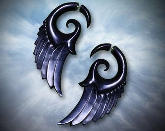 Dark Angel Wings, Fake Gauge, Handmade, Organic, Tribal Jewelry, Split, Cheaters, Eco-Friendly, Black Horn Earrings - H20