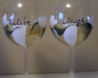 Live Love Laugh Handpainted Wine Glass, Dishwasher Safe