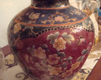 Vintage Dark Blue & Maroon Floral Chinese Vase - Hand Painted - Excellent Condition!!
