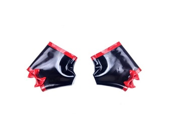 Fetish Latex Rubber Gauntlet Gloves Black with Red Bow