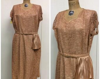 1950s Party Dress 50s Pink Lace Satin Dress