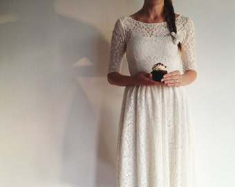 Cotton lace tea length dress with scoop back 'reserved for Luiza'