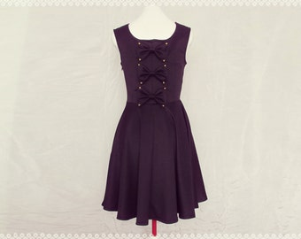 Little Black Bow Back Dress - Little Black Dress, LBD, Black Skater Dress, Black Holiday Dress, OOAK Black Dress in Size Small