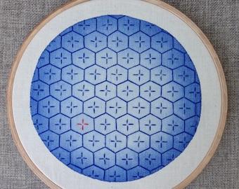 Sashiko embroidery on blue watercolor background