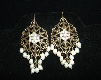 Earrings by Avon SP - Fresh Water Pearl and AB Rhinestones