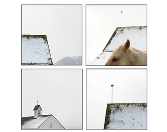 Black and White Photography Set of White Barn in the Snow Set of Four Photographs
